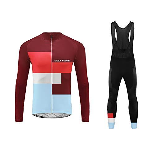 Uglyfrog Invierno Top/Winter Fleece Ropa de Bicicleta Hombre MTB Traje de Ciclismo Mangas Largas Maillot+Pantalones Equipación de Ciclista FAXLZR06