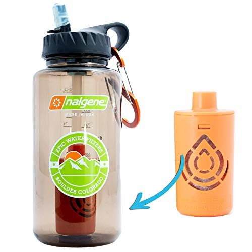 Epic Nalgene Outdoor OG   Water Bottle with Filter   Bottle + Filter Made In USA   Filtered Water Bottle   Travel Water Bottle   Water Purifier Camping Hiking Backpacking   BPA Free Water Bottle