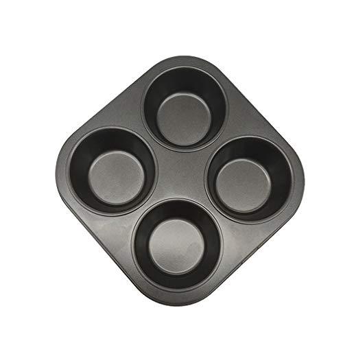 4 Cup Muffin Cake Pan, Non-Stick Mega Mini Cupcake, Baking Pans, Carbon Steel Cupcake Baking Pan for Making Jumbo Muffins or Mini Cakes (Black, 1Pcs)