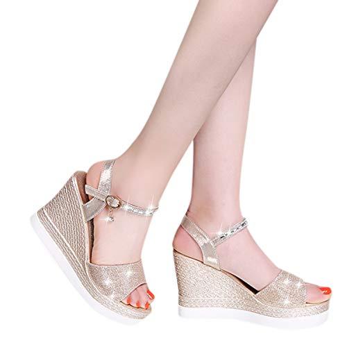 Buy Women's Hi-Lo High Heel Platform Pump Sandals Ankle Strap Chunky Block Heels Open Toe Heeled San...