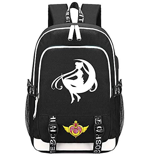 Chan-Mei Mochilas escolares para niños niñas adolescentes adolescentes, mochila de lona de Anime Cosplay Sailor Moon con carga usb