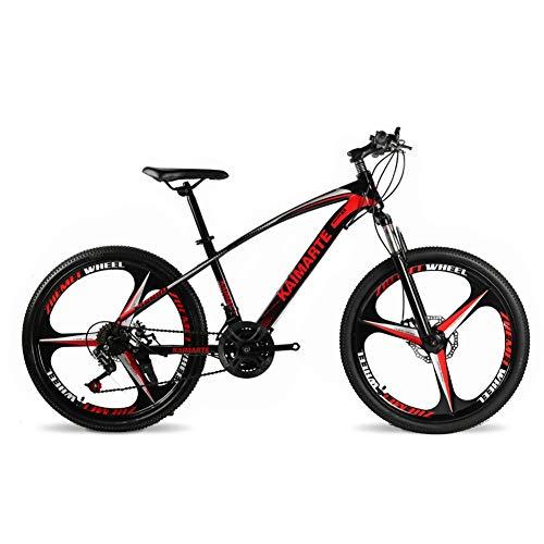 COSCANA Ruedas De 26'Frenos De Doble Disco De Bicicleta De Montaña 21-27 Velocidades Hombres Y Mujeres Suspensión Delantera De Bicicleta MTB con Rueda De 3 RadiosRed-27 Speed