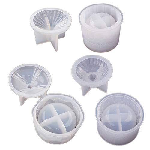 GUMEI DIY Molde de Resina para Caja de Almacenamiento de 3 orzuelos con Kit de Tapas Molde de Silicona para Tarro de Dulces de joyería