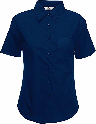 Fruit of the Loom Damen Popelin Shirt Lady-Fit Hemd, Blau (Navy 200), Medium