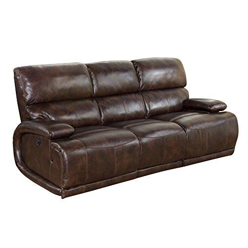 BarcaLounger Hudson II Power Recline 3 Seat Vermont Bark Leather Sofa