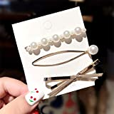 MENGCI 3Pcs/Set Female Girl Bowknot Pearl Heart Alloy Hairpin Headband Women's Hair Accessories