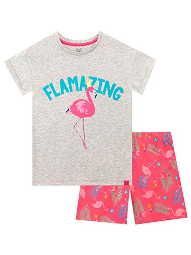 Harry Bear Mädchen Flamingo Schlafanzug Kurz Grau 140