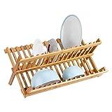 GWFVA Escurreplatos plegable de madera de bambú, doble nivel, plato de bambú, escurridor de platos de cocina plegable de 2 niveles, organizador de utensilios de cocina, 45,5 x 24,5 cm, diseño hueco