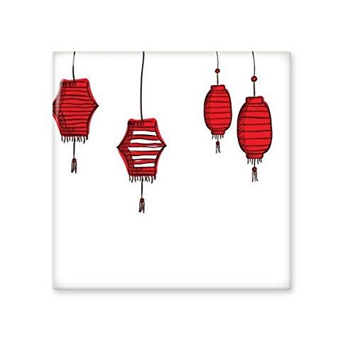 Rode lantaarns Chinese sterrenbeeld Gelukkig Nieuwjaar 2017 Jaar van de Haan Patroon Illustratie Keramische Bisque Tegels voor het verfraaien Badkamer Decor Keuken Keramische Tegels Wandtegels M