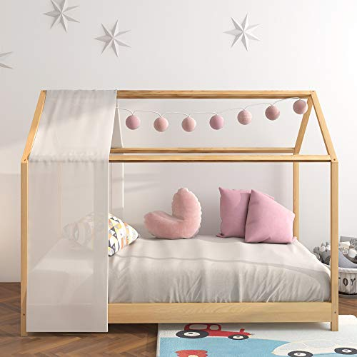 Panana White Baby Bed Scandinavian Style Solid Wooden Frame Fit Mattress 80 * 160cm