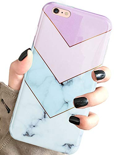 iPhone 6 Plus / 6s Plus case Marble, Geometric Marble Pattern Print Soft Cute Silicone Cover for Girls Women Slim Design TPU Shockproof Protective Case for iPhone 6 6S Plus 5.5 inch (Purple)
