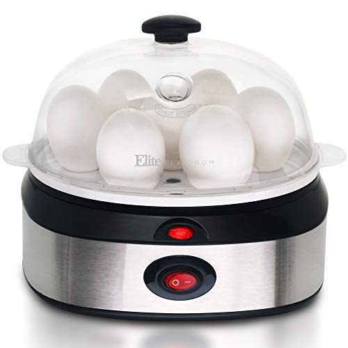 Elite Cuisine EGC-207 Hard-Boiled Egg Cooker and Boiler with Auto Shut-Off and Buzzer Measuring Cup Included, 7 Capacity, Stainless Steel