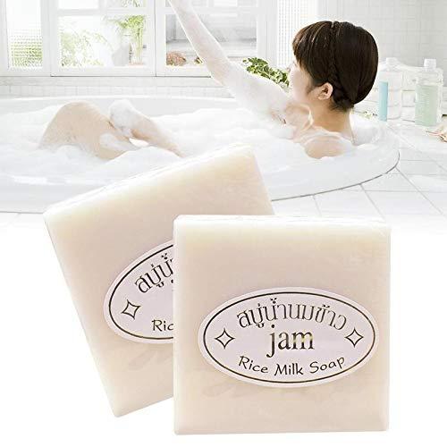 NERB Thaïlande Riz au Jasmin Savon Main Vitamine Main collagène Lait de Riz Savon Agents blanchissants acné Savon blanchissement de la Peau Bain Outil (Smell : Jasmine Rice soap)