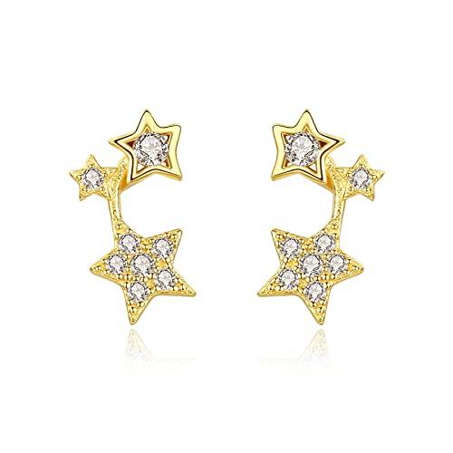 RGSRC Pendientes De Botón De Estrella De Plata Esterlina 925 Chapados En Oro De 18 K para Mujer, Bonitos Pendientes para Niñas Adolescentes (Chapado En Oro De 18 K)