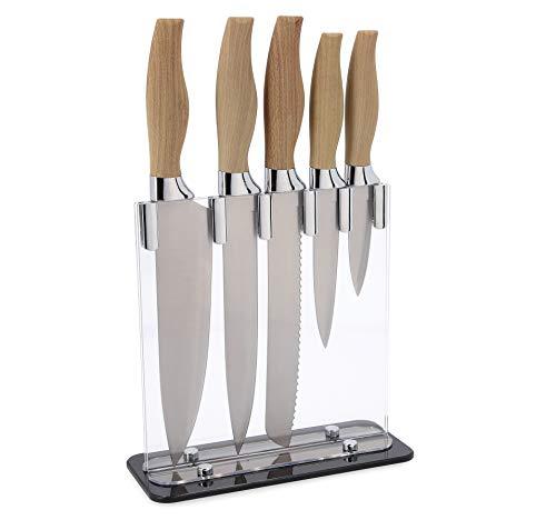 Quid Baobab Tacoma acrílica, Set de 5 Cuchillos de Cocina con Mango...