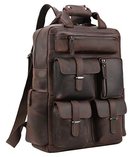 Polare Cowhide Leather 17.3'' Laptop Backpack Daypack Travel Bag School Bag Satchel