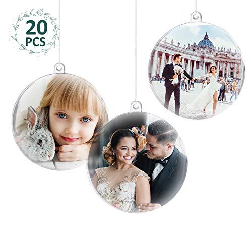 ilauke 20 stück Christbaumkugeln Weihnachtskugeln Acrylkugeln Transparent Set mit Federn- Perlenfaden- Schneeflocken, für Saisonal Deko, Hochzeit, Bemahlung, Weihnachtsbaumschmuck, Party (80mm)