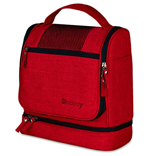 DELAWAY® XXL Kulturbeutel zum Aufhängen [Premium-Qualität] Große Kulturtasche Damen und Herren mit Kofferhalterung und separatem Nassfach (Rot)