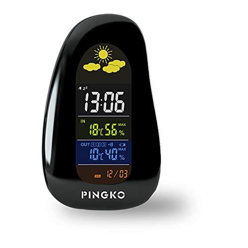 ONTA pingko Wetterstation Digitalthermometer drinnen draußen kabellose Station überwacht Luftfeuchte,Temperaturmonitor, mit Wettersensor,Kopfsteinpflaster-Form mit LED-Hintergrundbele,Schwarz
