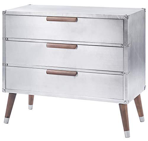 ts-ideen Comò Cassettiera stile Industriale Alluminio Satinato 3 cassetti