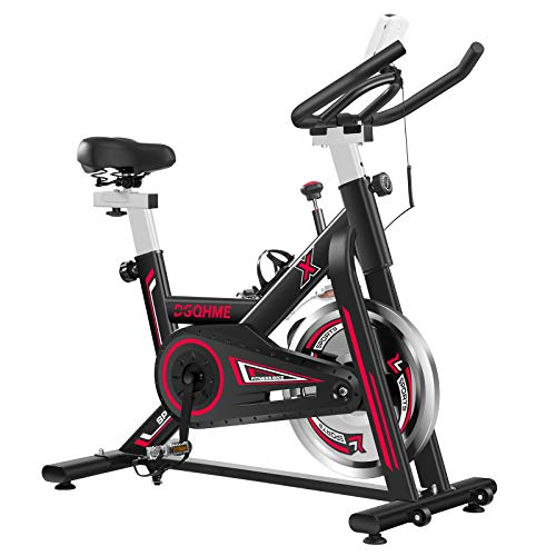 DGQHME Indoor Exercise Bike Fitness Stationary Comfortable Seat Cushion LCD Monitor for Gym Home Cardio Workout Bike