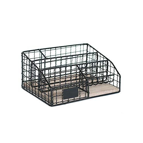 GFDFD Arte del hierro de la caja de almacenamiento retro de múltiples capas de material de oficina Caja de almacenamiento de archivos de almacenamiento en rack de escritorio papelería Acabado Cesta de