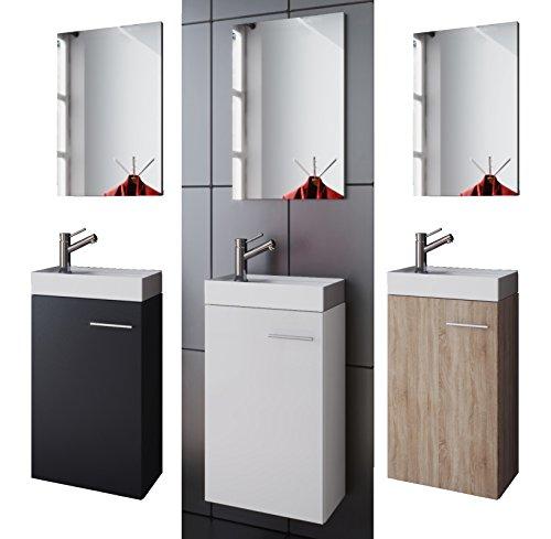 VCM WC-Garnitur Gäste Garla, schwarz, Holzstruktur-Nachbildung, L. 41 x W. 68 x D. 22 cm