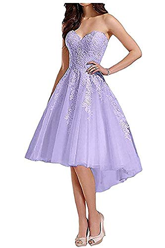 ZLQQ Womens Tulle Hi-Lo Prom Dress Appliques Off Shoulder Homecoming Cocktail Gowns_Lavender_10