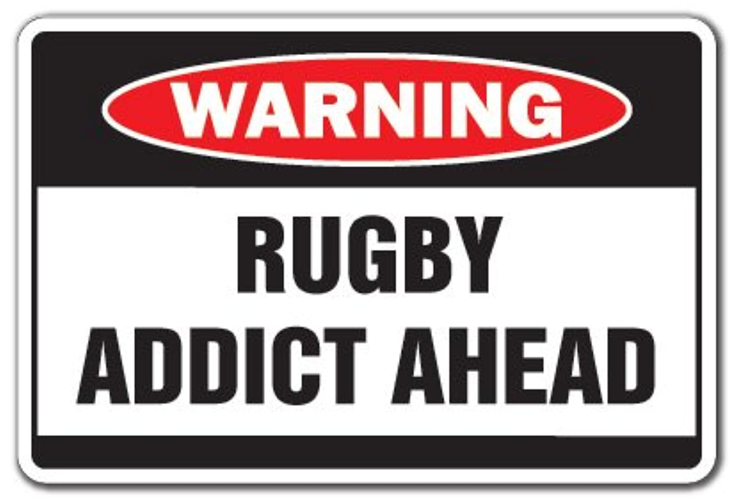 Rugby Addict Warning Decal Sport Team serious Crazy Player Coach