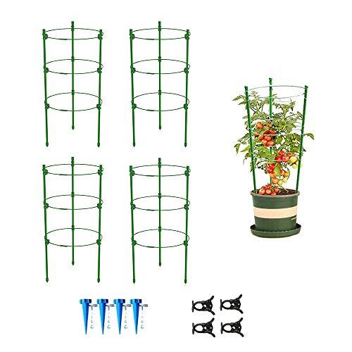 JIEPOLLY Rankhilfe Tomaten 4er Set, 45 cm Höhenverstellbare Ringe Wetterfest Kletterpflanzen Garten Balkon Rankhilfe