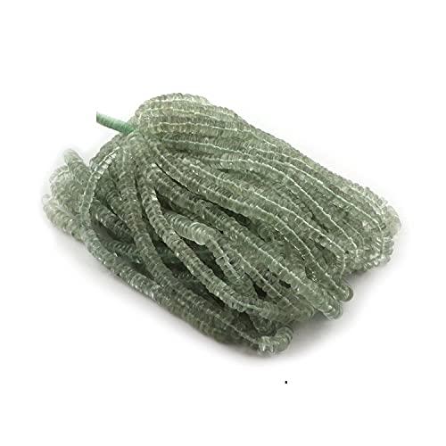 Crystallay 5-6 MM de Piedras Preciosas de Amatista Verde Natural, Cuentas Sueltas de Forma de llanta Lisa Heishi para Hacer Joyas, 1 hebra de 16' Juego de Cuentas de Bricolaje
