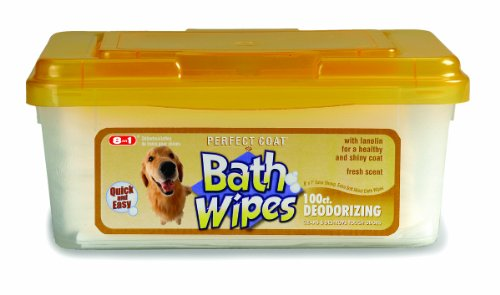 8 in 1 Perfect Coat Bath Wipes Dog Deodorizing 100ct by Perfect Coat