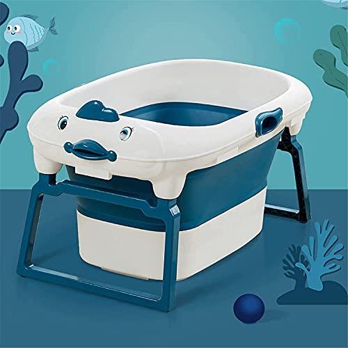 Bañera portátil Portátil Baby Baby Bathtub Bucket Niños Bañera Plegable Bañera de natación Barril de baño de baño Caliente Baño de Hielo (Color : Blue, Size : 80x56.5x19.5cm)