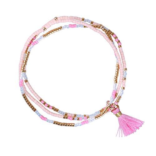 KELITCH Böhmen Freundschaft Armband Handgemachte Quasten Flügel Charme Armband & Armreifen Neue Boho (Rosa)