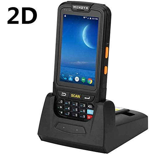 MUNBYN Handheld Barcode Scanner with Android 7.0 OS, 2D PDF417 Honeywell Scanner, Numeric keypad, Touch Screen and Charging Cradle with 3G 4G WiFi BT GPS Wireless Mobile Terminal for Inventory System barcode handheld scanner