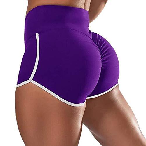 Pantalones Cortos Deportivos Scrunch Booty para Mujer,Pantalones Cortos Deportivos De Levantamiento De Glúteos De Cintura Alta,Pantalones Calientes De Playa para Yoga,Gimnasio (L,Purple)