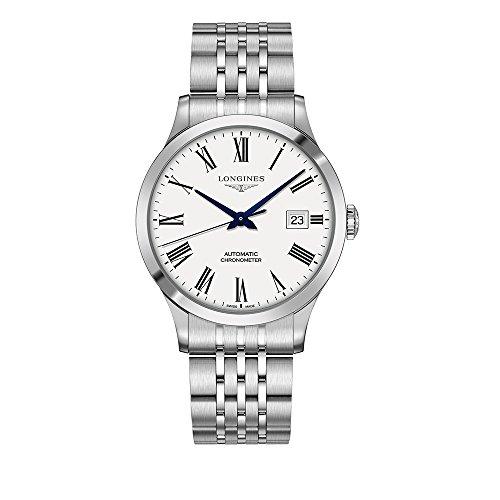 Longines Record Herren-Armbanduhr L28214116, automatisch, weißes Zifferblatt