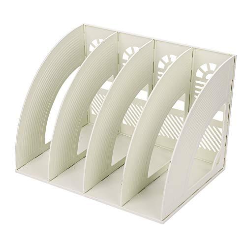 4 Compartiments Porte-revues Support Organiseur de Bureau Papier A4 Dossier CD Magazine Livre Etagère de Rangement Module de Fichier Classeur Document Panier Stockage Boîte de Rangement