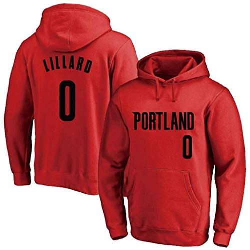 Shelfin NBA Jerseys heren Basketbal Hoodie, Portland Trail Blazers No.0 Lillard Losse Mode Basketbal Sportkleding Casual Basketbal