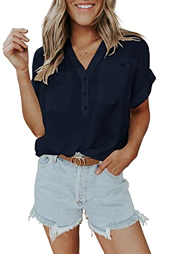 Women V-Neck Blouse Summer Chiffon Short Sleeve Button Down Loose Shirt Tops with Pockets Navy Blue