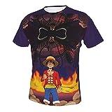 Camiseta Estampada para Hombre Estilo Casual Anime One Piece Monkey D Luffy (26) Camisetas de Manga Corta con Cuello Redondo para Hombres 3X-Large