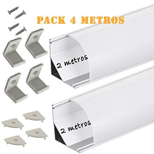 Perfil de aluminio para LED tira con difusor opaco PACK 4 metros angular L,barra disipador en angulo de 90º en tiras de 2 mts, canal con soporte de montaje,tapas finales