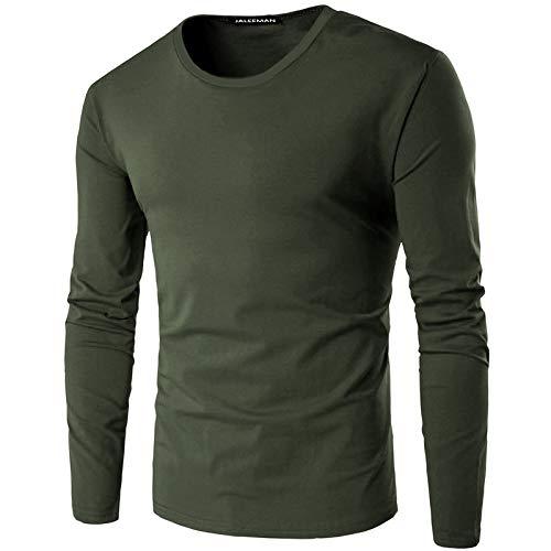 Camiseta de manga larga para hombre con cuello redondo y parte inferior de algodón - - Large