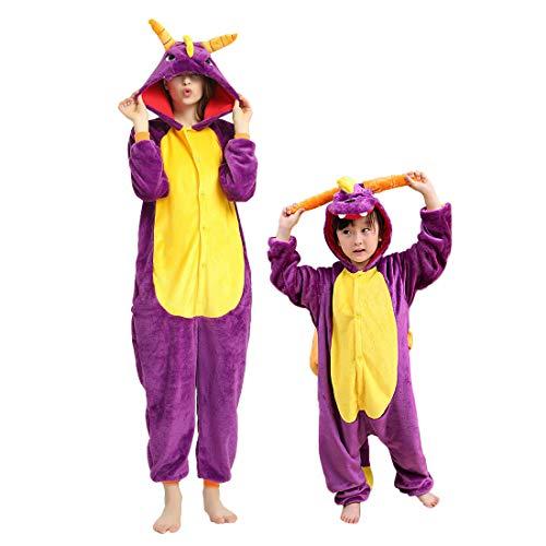 DEBAIJIA Adulto Unisex Pijamas Animal Ropa de Dormir Novedad y Navidad Disfraces Pijama para Niños Juguetes y Juegos Oscuro de Dibujos Animados de Franela Dragón Morado - 155