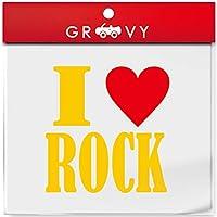 I LOVE ROCK 車 ステッカー アイ ラブ ロック 音楽 music ジャンル 赤い ハート ドレスアップ おしゃれ 可愛い かっこいい シール 防水_1129 (イエロー)