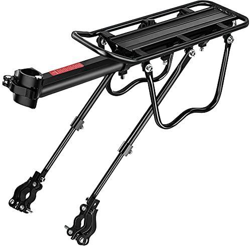 SPGOOD Mountainbike Gepäckträger Set - Einstellbare Universal Aluminiumlegierung Fahrrad Gepäckträger,Schnellverschluss und Montage,Stark und Robust Maximalbelastung 100kg,mit Reflektor