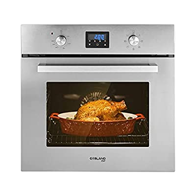 """Single Wall Oven, GASLAND Chef ES609DSN 24"""" Built-in Electric Ovens, 240V 2800W 2.3Cu.f 9 Cooking Functions Convection Wall Oven, Mechanical Knob Control, Digital Display, Stainless Steel Finish"""