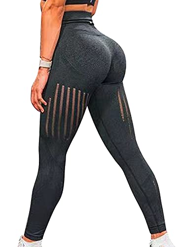Women's High Waist Yoga Pants Butt Lifting Workout Leggings Hollow Out Seamless Tight Squat Proof Pants Black by