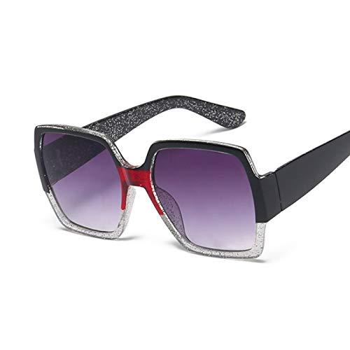 ShZyywrl Gafas De Sol Gafas De Sol Cuadradas A La Moda para Mujer, Gafas De Sol con Espejo Retro, para Mujer, Tonos Vintage, Negro, Transpa