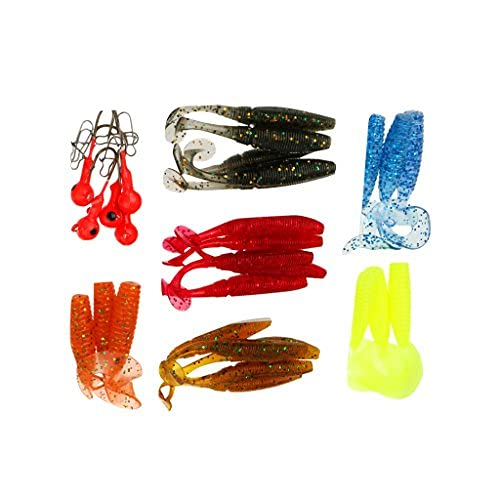 Litulituhallo Coda Assortita Grub Soft Worm Plastica Pesca Lure Micro Jig Head Tackle